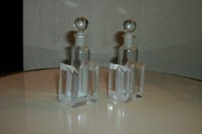 ART DECO ATOMIC ARCHITECTURAL LUCITE GLASS PERFUME BOTTLE Pr ANTIQUE PARIS APT