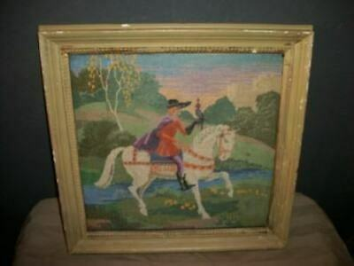 ANTIQUE LATE 1800's PETIT POINT NEEDLEPOINT TAPESTRY HORSEMAN CHIPPY FRAMED