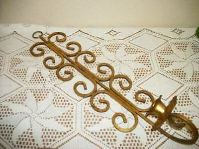 Italian Tole Gilt French Scrolly Candle Sconce Chic Shabby Mcm Paris Apt Vintage