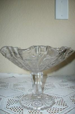 30s CHIC CRYSTAL COMPOTE DISH HOBSTAR LOTS OF BUBBLES CHIC SHABBY PARIS APT GLAM