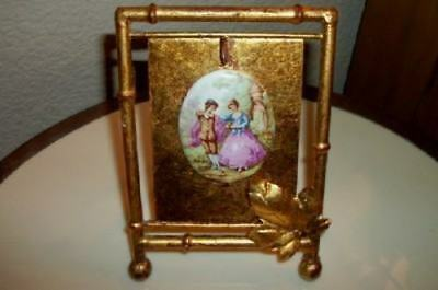 Italian Tole Gilt Bamboo Antique Pocket Watch Stand Fragonard Couple French Chic