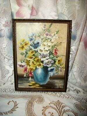 JANET GREENLEAF FLORAL OIL PAINTING LISTED KNOWN ARTIST 30's VINTAGE Chic Shabby