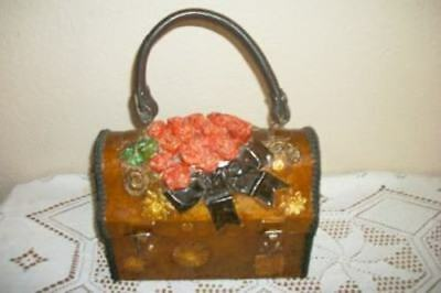 Vintage Decoupage Gilt Paper Papier Mache Bow Roses Handbag Lunch Box Purse Ooak