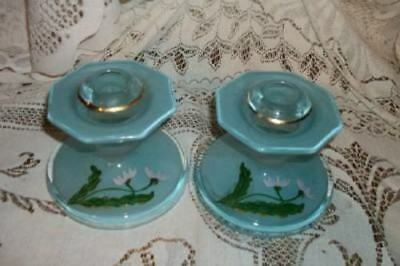 Antique French Blue Opaline Reverse Glass Candle Holders Hp Floral Art Deco