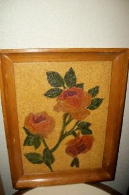 60's ROSES STRING OIL PAINTING ON CORK ACTRESS IRISH McCALLA UNIQUE CHIC SHABBY