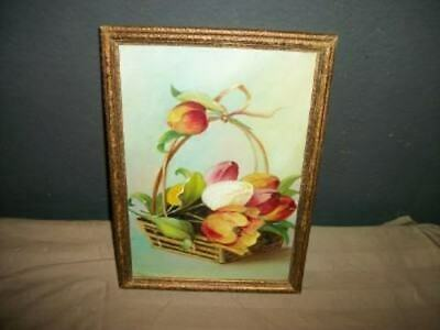 Antique Victorian Tulip Oil Painting Flower Basket Bow Roses Chic Shabby Cottage