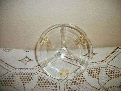 Chic Art Deco Era Depression Glass Hp Floral Footed Bowl Cottage Shabby