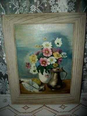 Vintage Roses Chic Floral Oil Painting Silver Pot Cottage Shabby Still Life