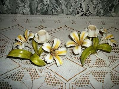Italian Tole Vintage Chippy Lily Candle Holders Shabby Hollywood Regency Chic
