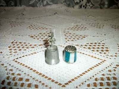 Collectible Chic Pewter Sequoia Tree & Bone Thimble Shabby Collectible