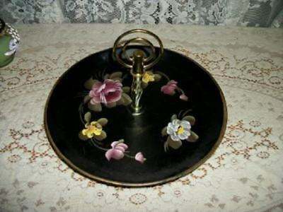 Vintage Hp Tole Tray Server Handle Shabby Cottage Roses Chic Paris Apt Metal