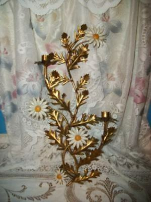 Italian Tole Gilt Daisy Candle Sconce French Style Vintage Mid Century