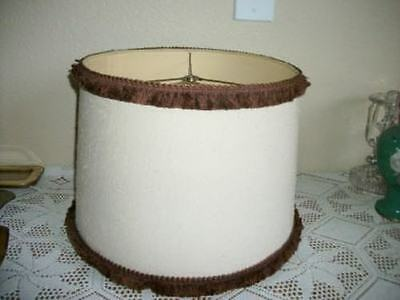 VINTAGE CHIC EARLY AMERICAN 50s FABRIC FRINGED LAMPSHADE SHABBY MID CENTURY