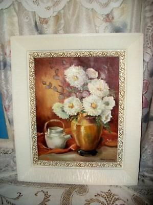 Vintage Roses Chic Floral Oil Painting Creamy Frame Shabby Hollywood Regency Mcm