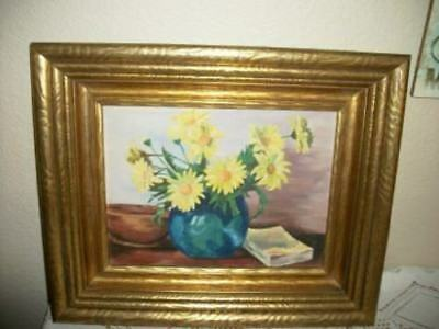 FLORAL OIL PAINTING HEAVY GILT WOOD ROSES CHIC SHABBY PARIS APT 1930's VINTAGE