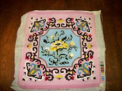 Vintage Aubusson Needlepoint Pillow Top Seat Cover Pink Chic Shabby Paris Apt