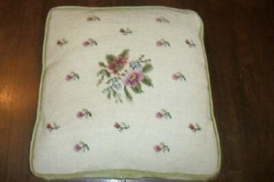 Vintage French Chic Roses Needlepoint Square Pillow Cushion Shabby Velvet