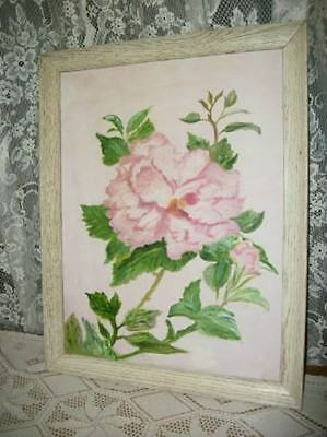 Vtg Pink Flowers Oil Painting Shabby Creamy Cottage Roses Chic Hollywood Regency