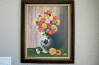 MCM 50s FLORAL OIL PAINTING ROSES CHIC SHABBY COTTAGE HOLLYWOOD REGENCY ERA