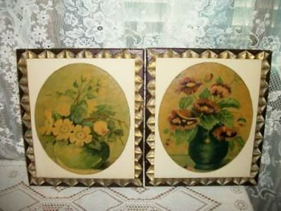 Antique Wild Roses Poppies Floral Oil Painting Pr Chic Shabby Old Gilt Wood