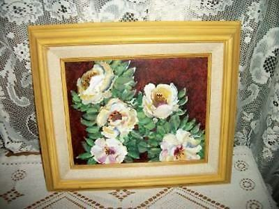 VINTAGE 70s ROSES OIL PAINTING CHIC YELLOW WOOD FRAME SHABBY COTTAGE