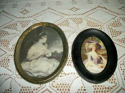 Pr VICTORIAN ANTIQUE OVAL TIN FRAME PRINTS FRENCH LADY YOUNG GIRL SHABBY COTTAGE
