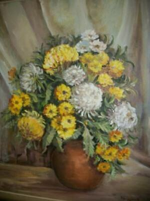 Floral Oil Painting Mid Century Mums Nice Detail Roses Chic Shabby Regency