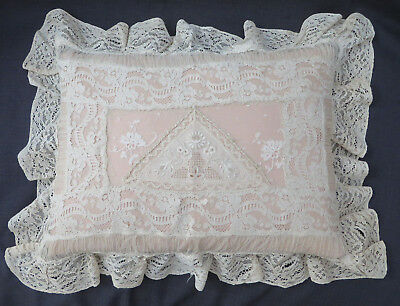 Antique French Normandy Embroidered Net Lace Feather Boudoir Bridal Pillow 18""