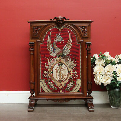 Antique French Walnut Tapestry Fire Screen with Phoenix and Crest, Carved Face