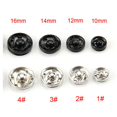 Silver/Black Invisible Press Studs Snap Fasteners Sewing Clothing Varisized Home