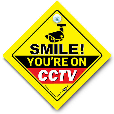 Smile You're On CCTV Car Sign, Camera Car Sign, Car Security Sign, Dash Cam Sign