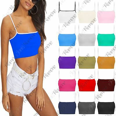 New Womens Plain Contrast Strappy Sweatheart Neck Bra Basic Vest Bralet Crop Top