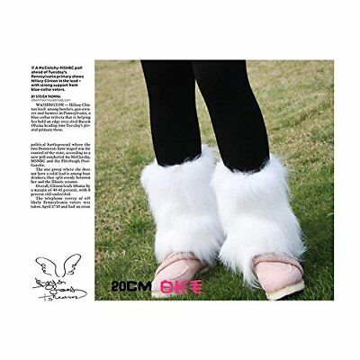 White Fashion Boot Cuff Fluffy Soft Furry Faux Fur Leg Warmers Boot Toppers 20cm