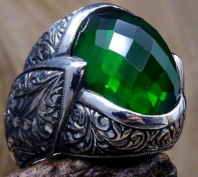 Turkish Handmade 925 Sterling Silver Emerald Stone Mens Ring Size 11 Free Resize