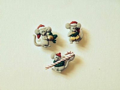 """DRESS IT UP Christmas """"Not a Creature was Stirring Mice Novelty Buttons"""