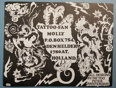 1970s vintage 4x6 in tattoo peter dutch nl business card molly fan amsterdam