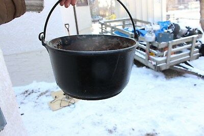 Antique Vintage Cast Iron Kettle Pot With Handle Camping Outdoors