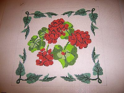 Hand Painted Needlepoint Canvas Red Geraniums Flowers Green Leaf Border pretty