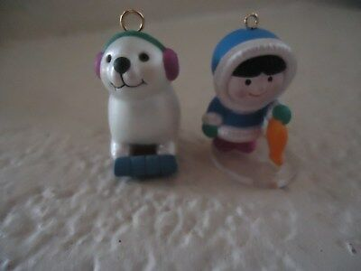 American Eskimo and Seal Tiny One Inch Miniature Christmas Holiday ORNAMENTS