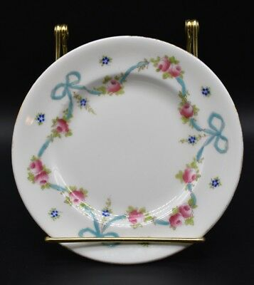(2) Crown Staffordshire Bread Plates Blue Bow Pink Flower Gold Trim