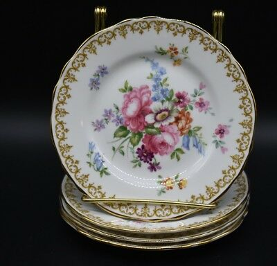 (4)Crown Staffordshire Bread Plate England's Bouquet Flowers Dresden
