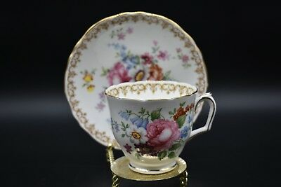 (2) Crown Staffordshire Tall Footed Cup & Saucer England's Bouquet Flowers