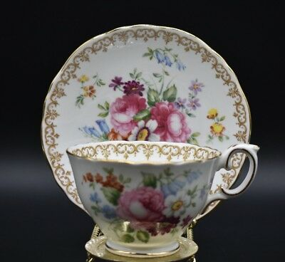 Crown Staffordshire Footed Cup & Saucer England's Bouquet Flowers
