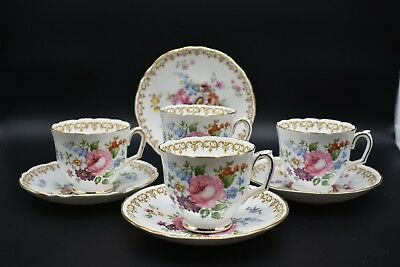 (4) Crown Staffordshire Footed Tall Cup & Saucer England's Bouquet Flowers