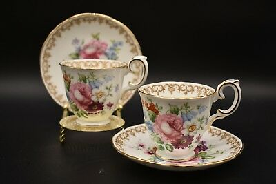 (2) Crown Staffordshire Footed Demitasse Cup & Saucer England's Bouquet Flowers