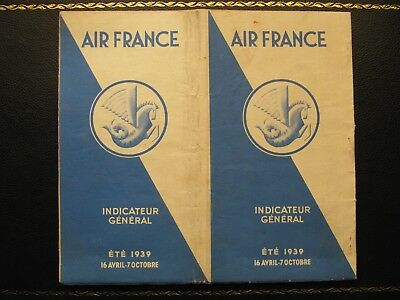 AIR FRANCE rare timetable 16 Apr - 7 Oct 1939 with route map