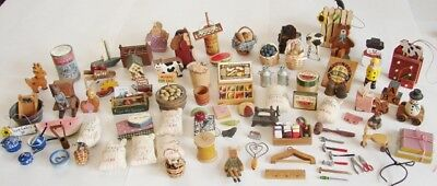 98 Piece Lot of Vintage Dollhouse Country/Farmhouse/Train Display Items