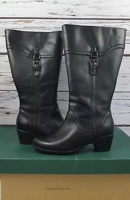 1e143a7cca88 Clarks Ingalls Vicky 2 Bendables WIDE Shaft Leather Boots Full Zip Black  Size 8W