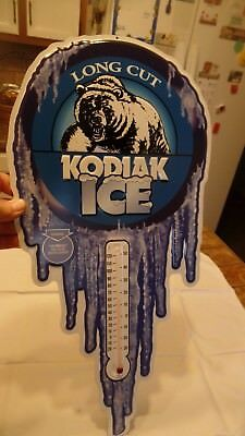 Long Cut Kodiak Ice Tin Sign/Thermometer New Condition From Mid 1990's