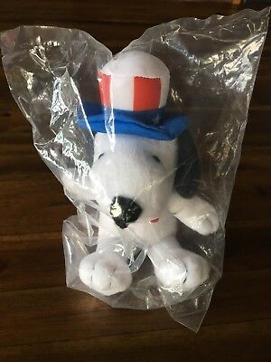 "Peanuts MetLife 6"" Plush Snoopy Doll Uncle Sam Patriotic Hat Free Shipping!"